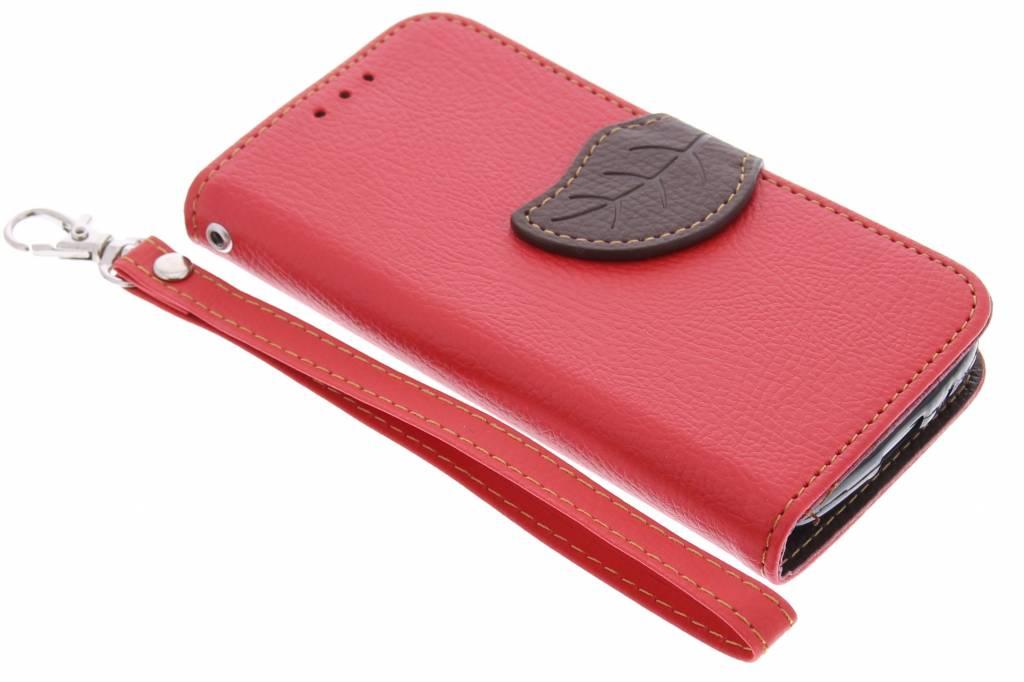 Rode blad design TPU booktype hoes voor de Samsung Galaxy S4 Mini