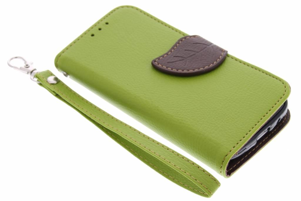 Groene blad design TPU booktype hoes voor de Samsung Galaxy S4 Mini
