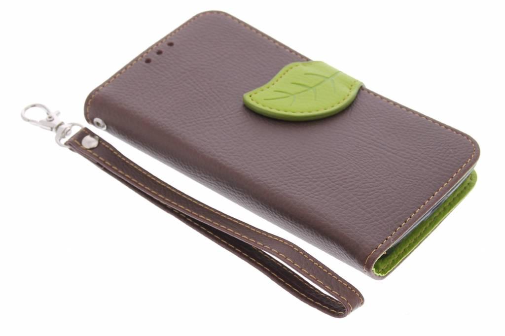 Bruine blad design TPU booktype hoes voor de Nokia Lumia 630 / 635