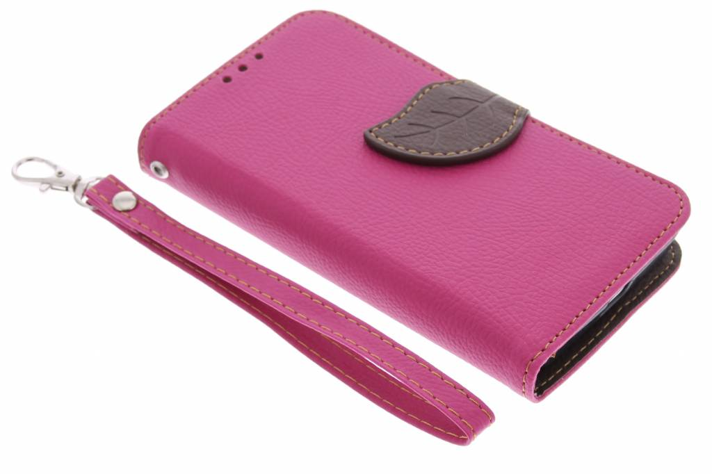 Roze blad design TPU booktype hoes voor de Nokia Lumia 630 / 635