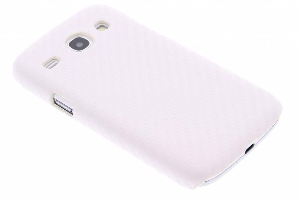 Wit carbon look hardcase hoesje voor de Samsung Galaxy Core