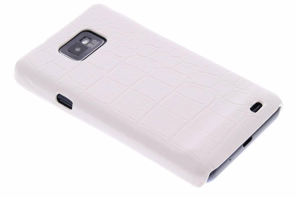 Wit krokodil design hardcase hoesje voor de Samsung Galaxy S2 (Plus)