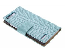 Turquoise slangen booktype hoes Huawei Ascend G6