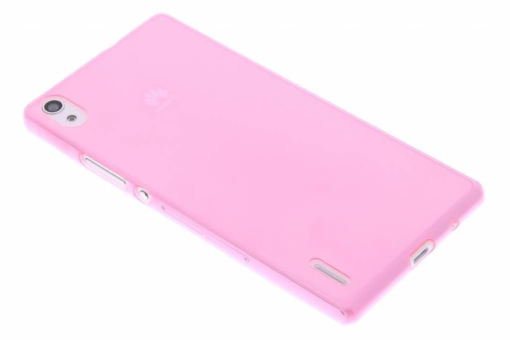 Roze ultra thin transparant TPU hoesje voor de Huawei Ascend P7
