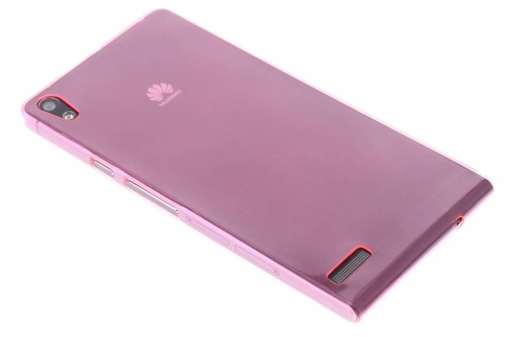 Roze ultra thin transparant TPU hoesje voor de Huawei Ascend P6 / P6s