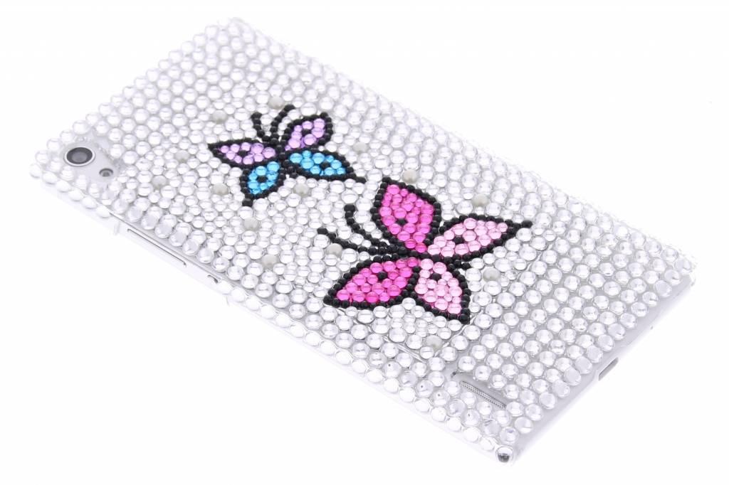 Wit vlinder design BlingBling hardcase voor de Huawei Ascend P7