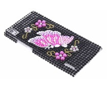 Zwart vlinder BlingBling hardcase Huawei Ascend P7