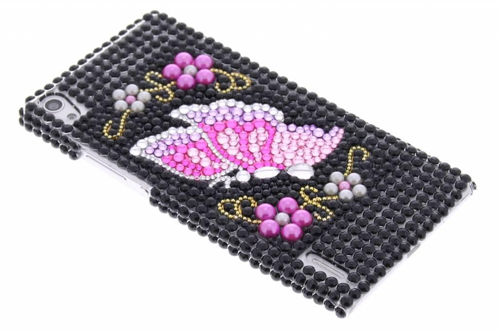 Zwart vlinder design BlingBling hardcase voor de Huawei Ascend P7