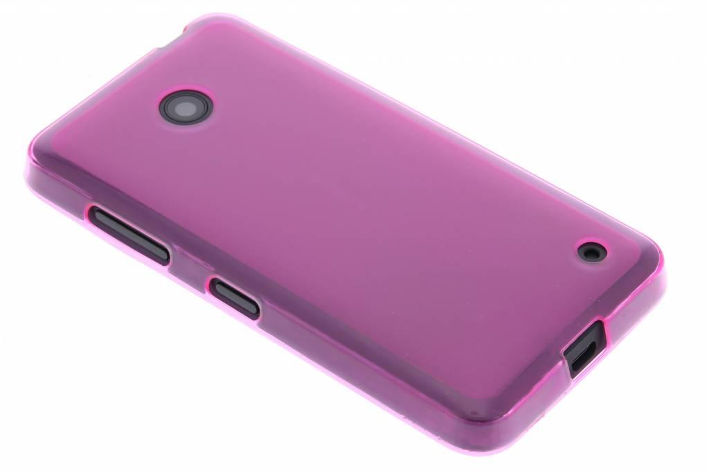 Fuchsia transparant hard siliconen hoesje voor de Nokia Lumia 630-635