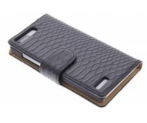 Zwart slangen booktype hoes Huawei Ascend G6