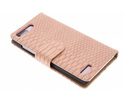 Roze slangen booktype hoes Huawei Ascend G6