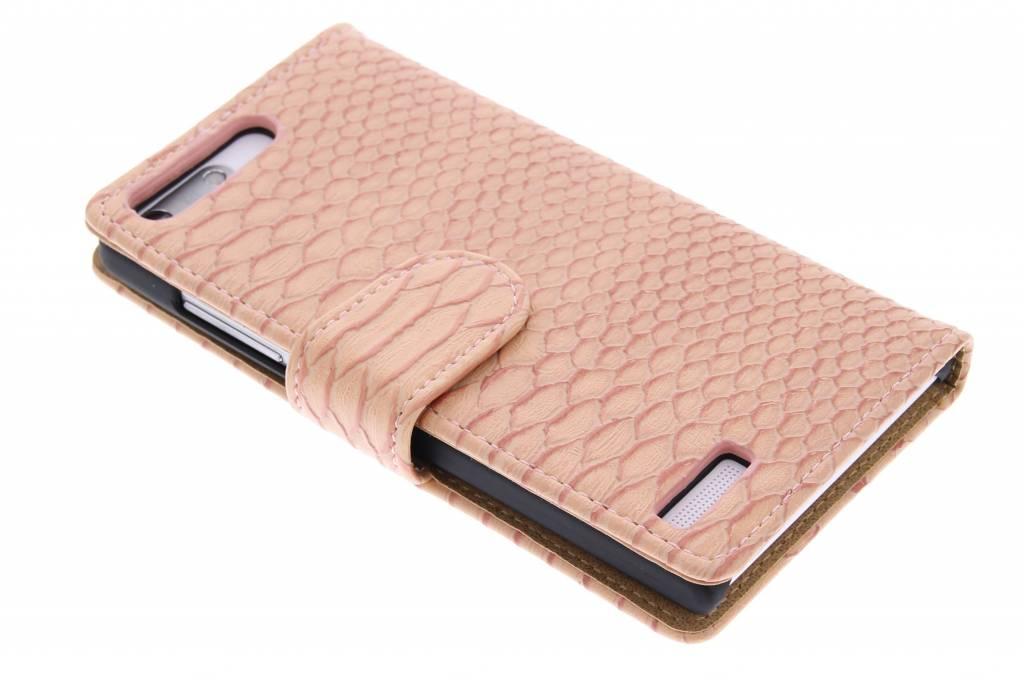 Roze slangen booktype hoes voor de Huawei Ascend G6