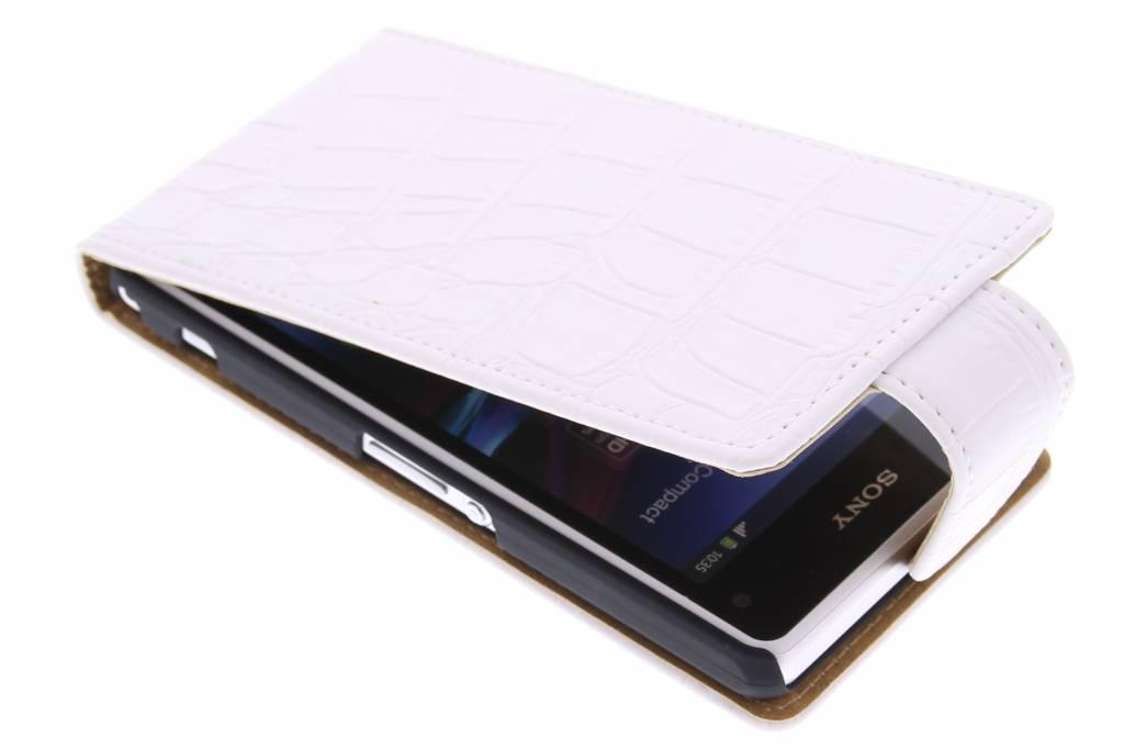 Witte krokodil flipcase voor de Sony Xperia Z1 Compact