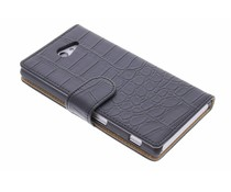 Zwart krokodil booktype hoes Sony Xperia M2 (Aqua)