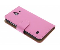 Roze effen booktype hoes Huawei Ascend Y550