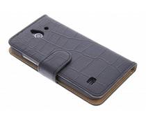 Zwart krokodil booktype hoes Huawei Ascend Y550