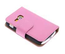 Roze effen booktype hoes Samsung Galaxy Mini 2