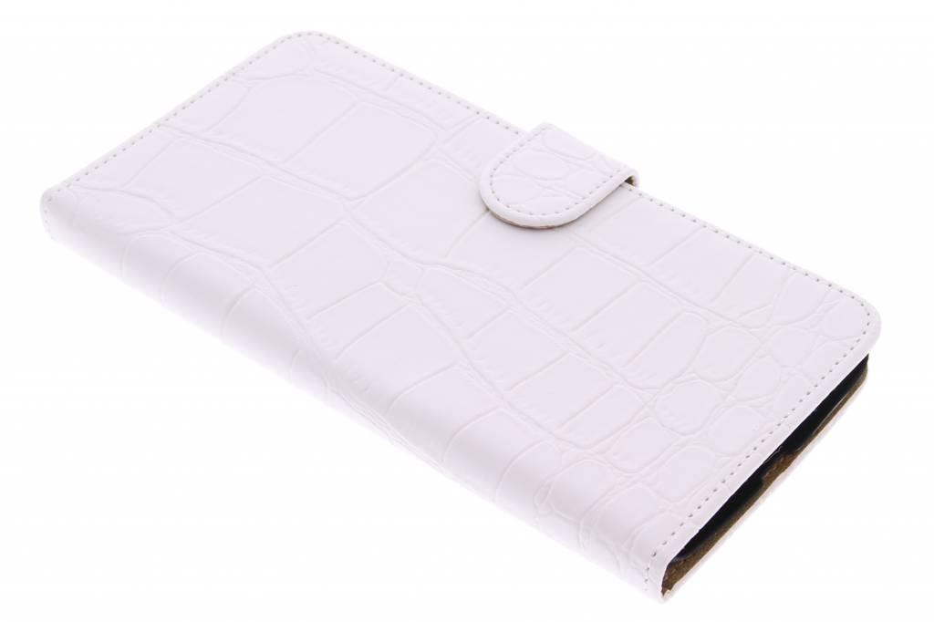 Witte krokodil booktype hoes voor de Motorola Nexus 6