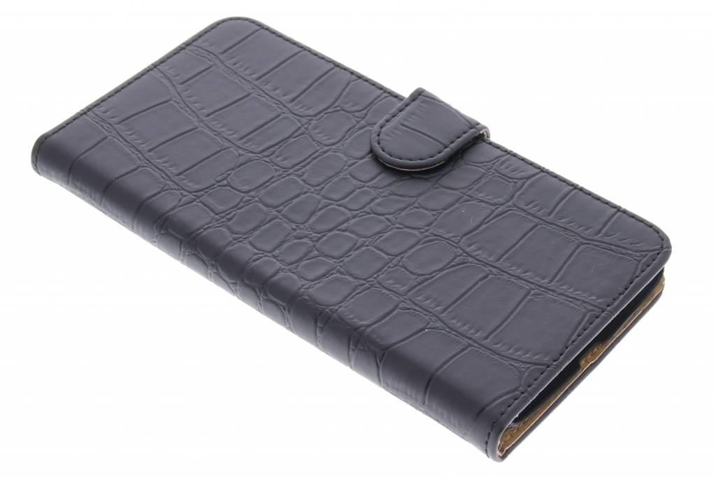 Zwarte krokodil booktype hoes voor de Motorola Nexus 6
