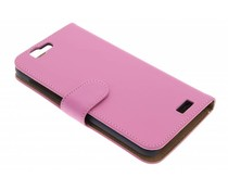 Roze effen booktype hoes Huawei Ascend G7