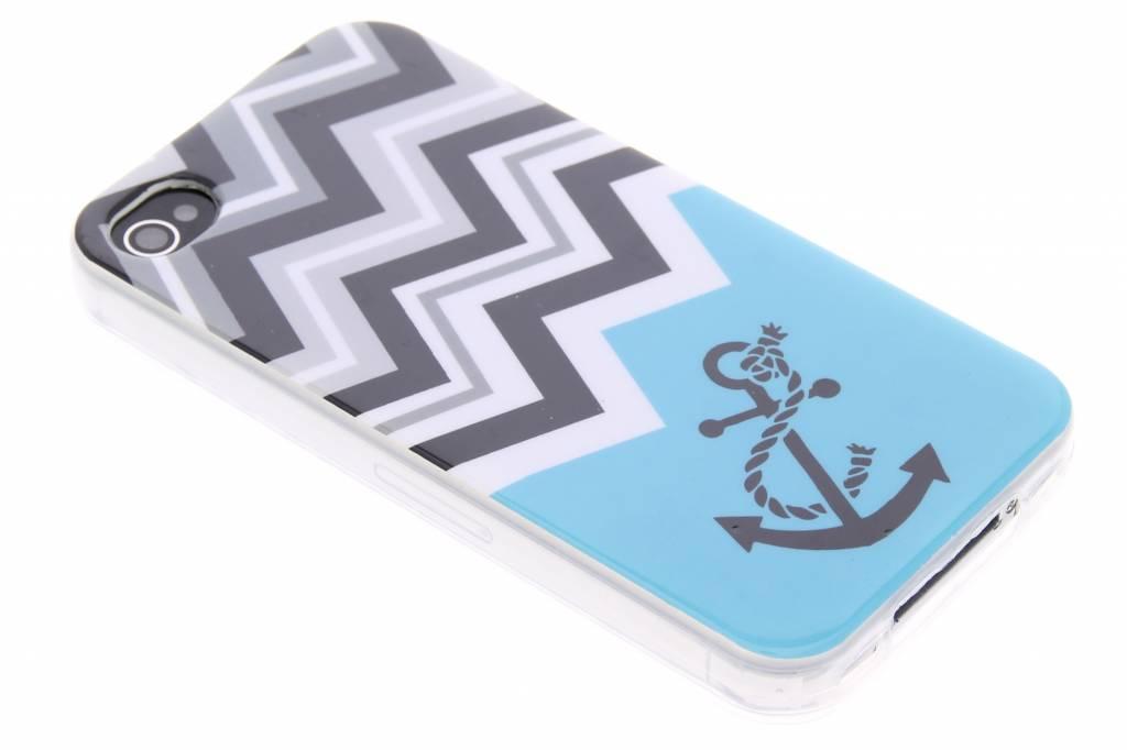 Blauw chevron design TPU siliconen hoesje voor de iPhone 4 / 4s