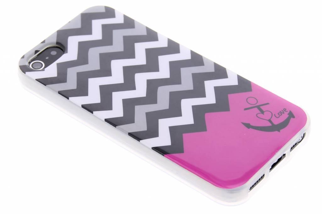 Roze chevron design TPU siliconen hoesje voor de iPhone 5 / 5s / SE