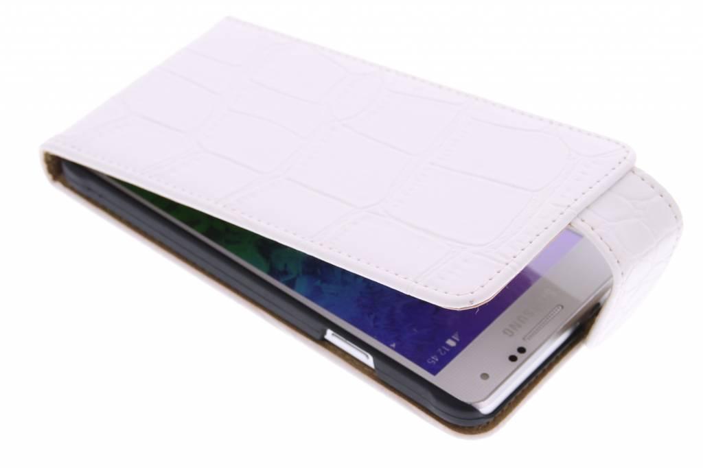 Witte krokodil flipcase voor de Samsung Galaxy Alpha