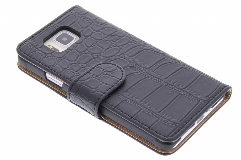 Zwarte krokodil booktype hoes voor de Samsung Galaxy Alpha