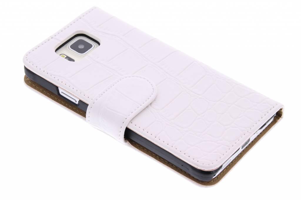 Witte krokodil booktype hoes voor de Samsung Galaxy Alpha