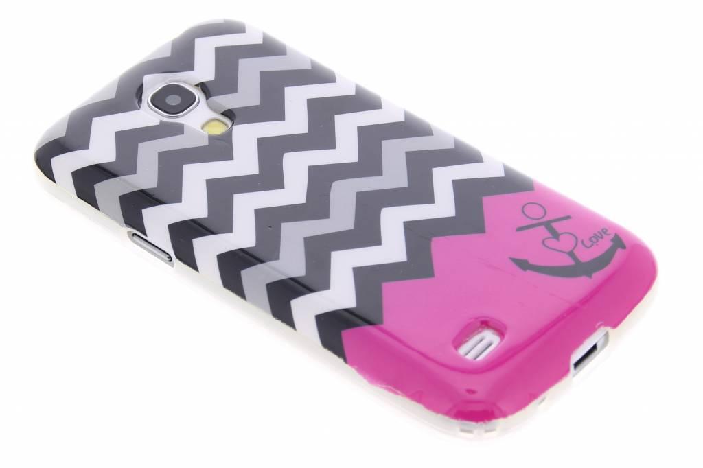 Roze chevron design TPU siliconen hoesje voor de Samsung Galaxy S4 Mini