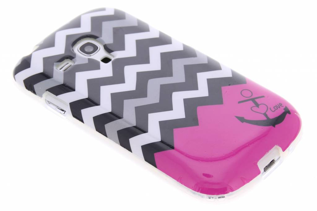 Roze chevron design TPU siliconen hoesje voor de Samsung Galaxy S3 Mini