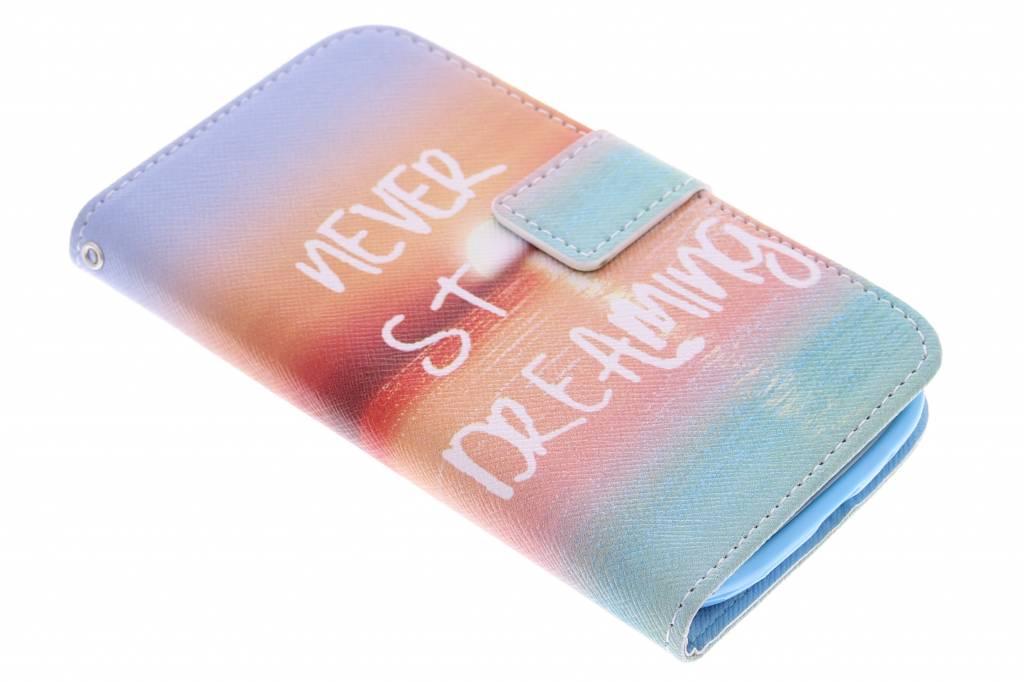 Never stop dreaming design TPU booktype hoes voor de Samsung Galaxy S3 / Neo