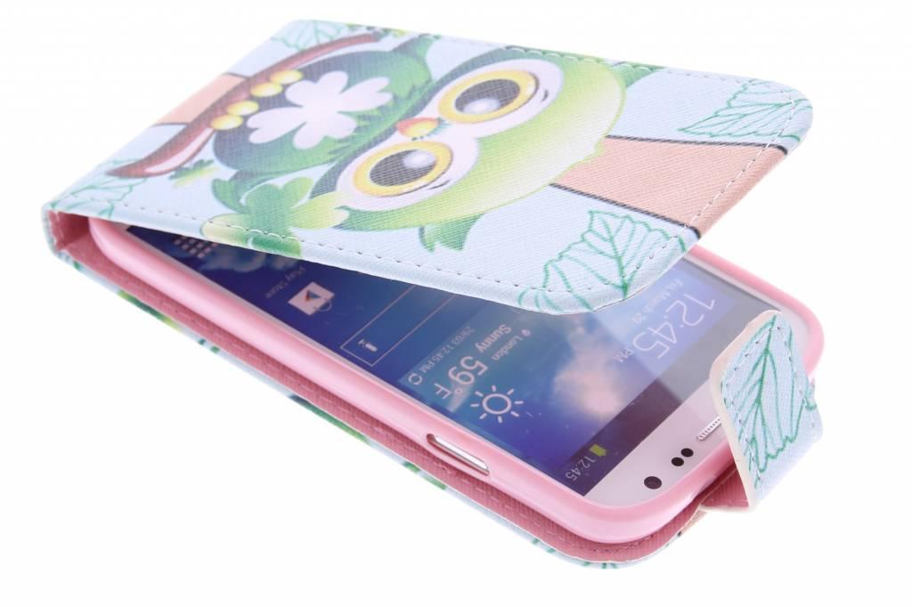 Uil design TPU flipcase voor de Samsung Galaxy S4