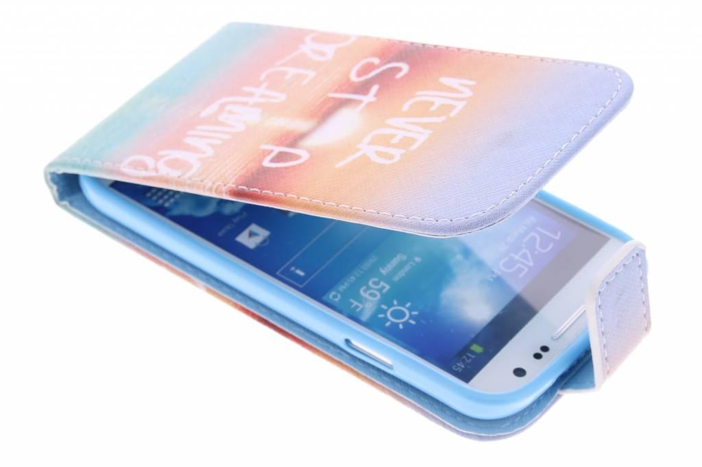 Never stop dreaming design TPU flipcase voor de Samsung Galaxy S4