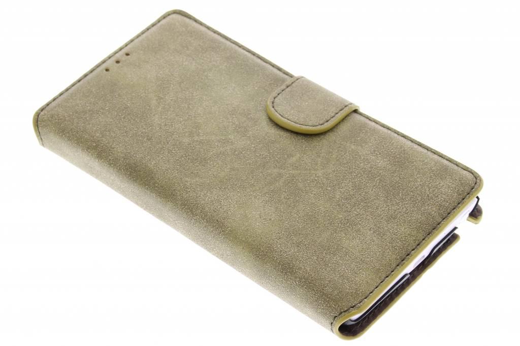 Groene suède look booktype hoes voor de Samsung Galaxy Note Edge