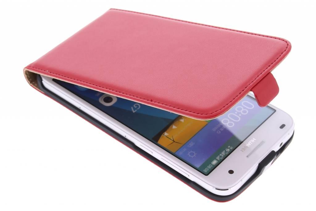 Rode luxe flipcase voor de Huawei Ascend G7