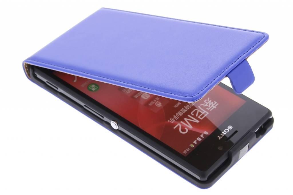 Blauwe luxe flipcase voor de Sony Xperia M2 (Aqua)