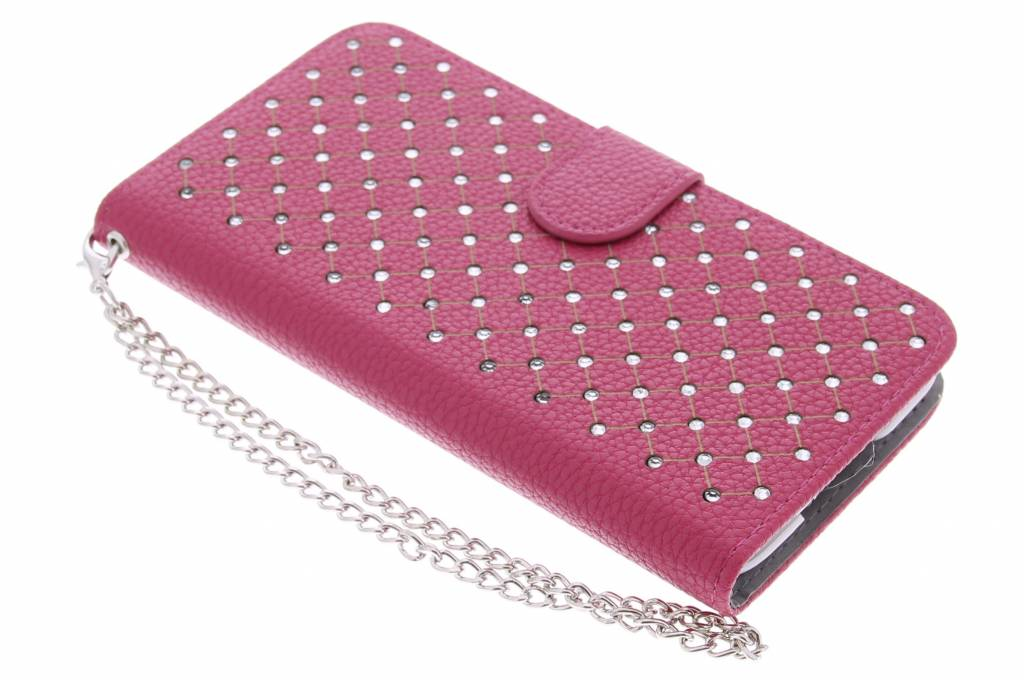 Fuchsia chique strass booktype hoes voor de Samsung Galaxy S5 (Plus) / Neo