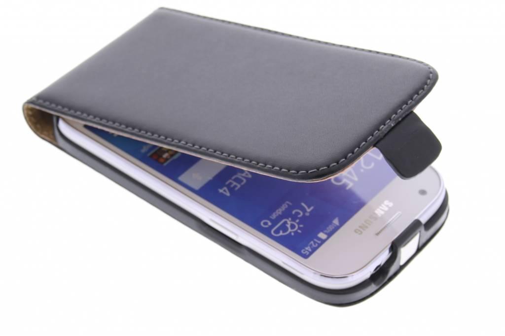Zwarte luxe flipcase voor de Samsung Galaxy Ace 4