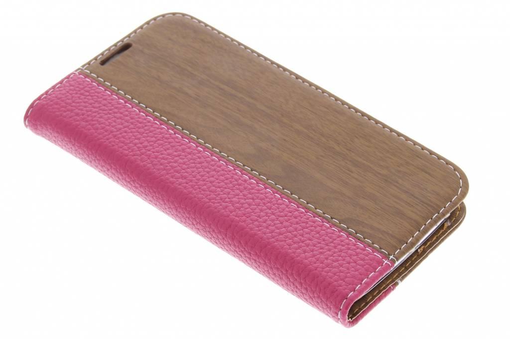 Fuchsia hout leder design booktype hoes voor de Samsung Galaxy S4