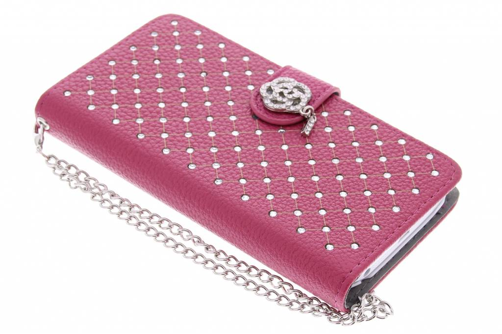 Fuchsia chique strass booktype hoes voor de LG G2