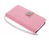 Roze chique strass booktype hoes LG G2