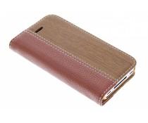 Hout leder design booktype iPhone 4 / 4s