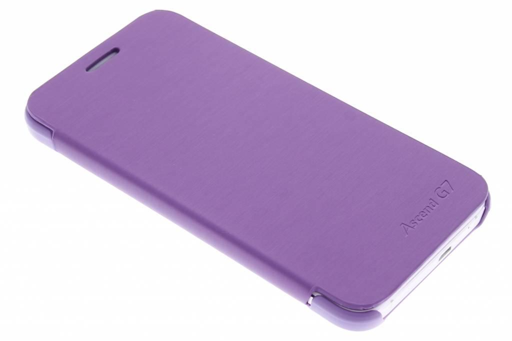 Paarse luxe slim booktype hoes voor de Huawei Ascend G7