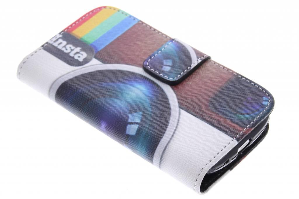 Insta camera design TPU booktype hoes voor de Samsung Galaxy S3 Mini