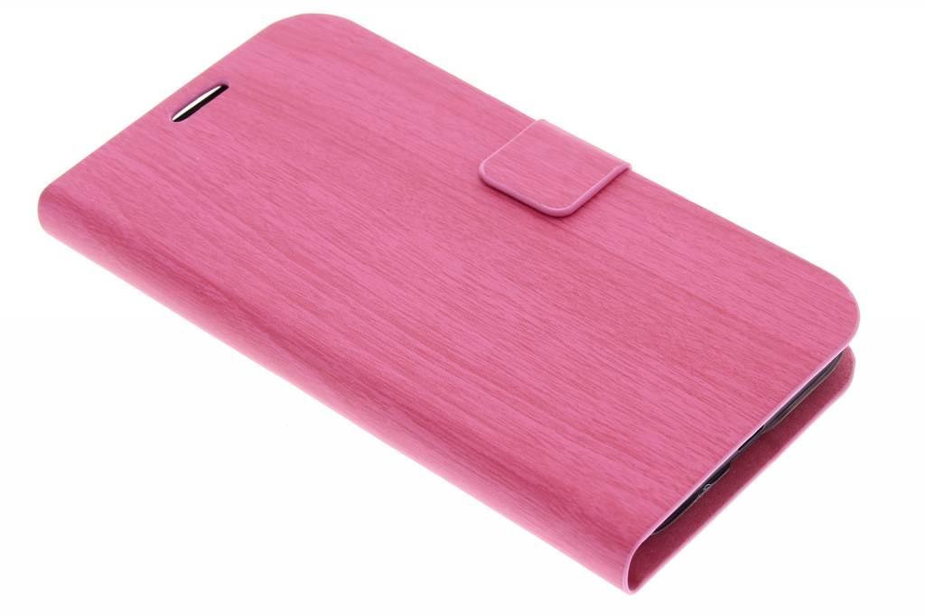 Roze hout design booktype hoes voor de Huawei Ascend Y550