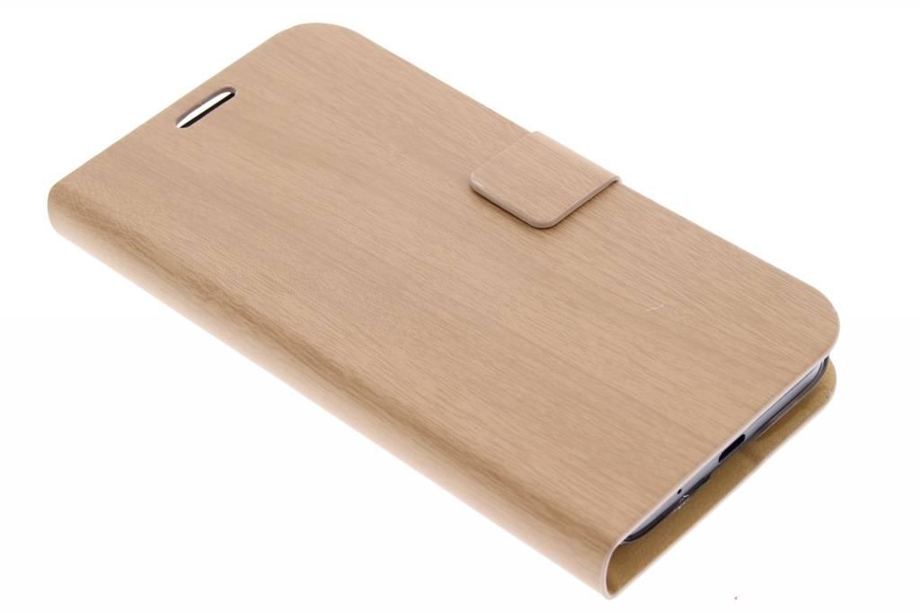 Lichtbruin hout design booktype hoes voor de Huawei Ascend Y550