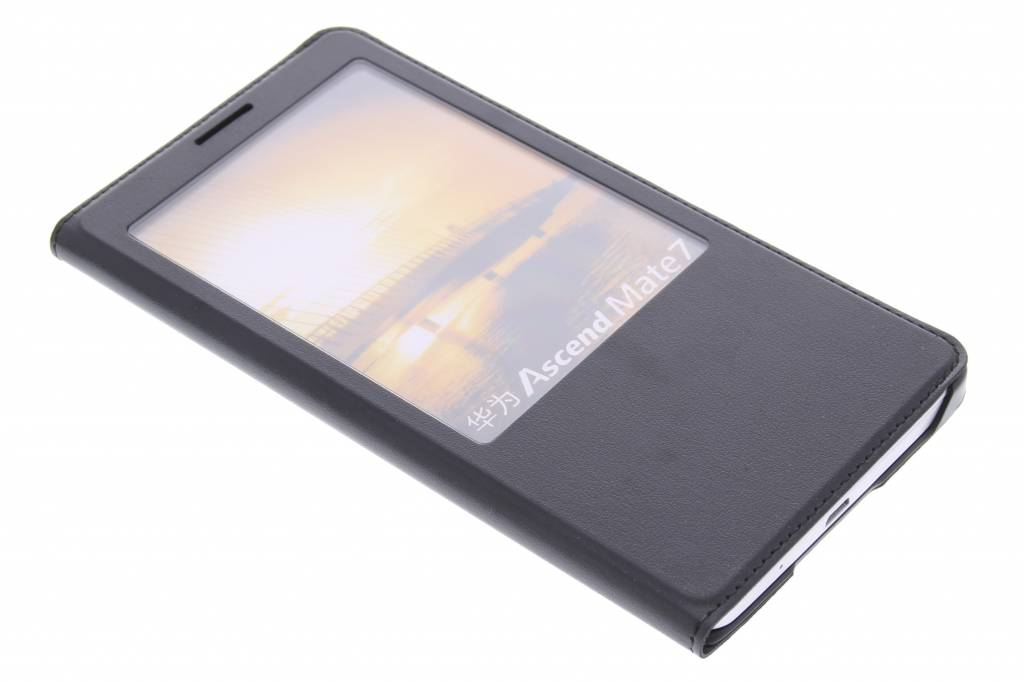 Zwarte luxe slim booktype hoes met venster voor de Huawei Ascend Mate 7