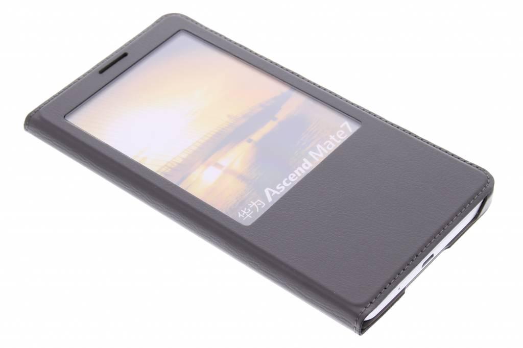 Grijze luxe slim booktype hoes met venster voor de Huawei Ascend Mate 7