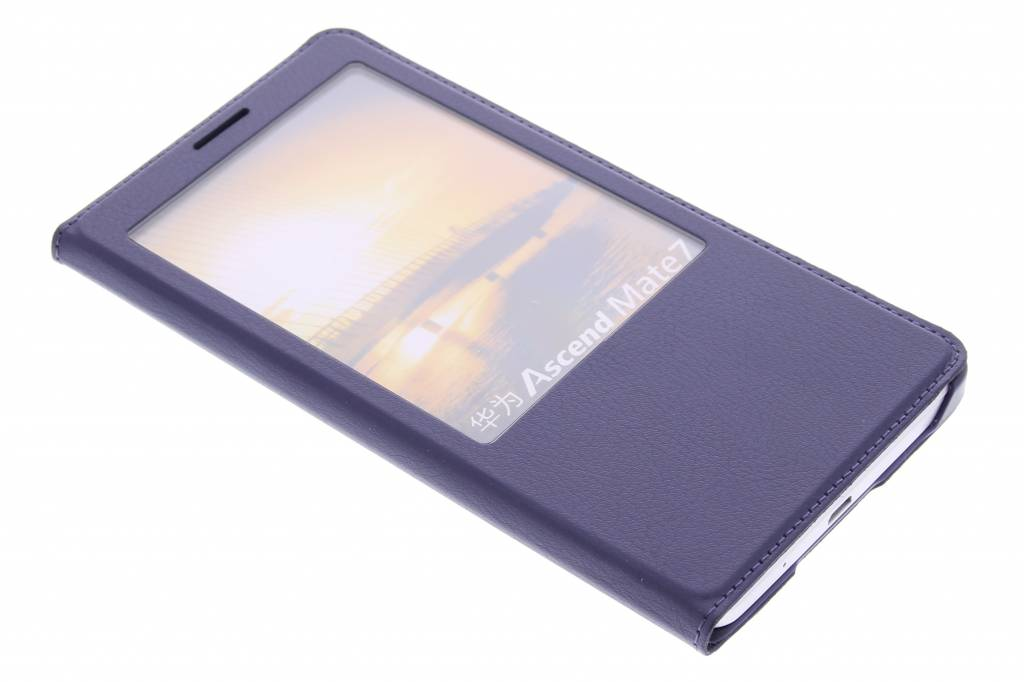 Paarse luxe slim booktype hoes met venster voor de Huawei Ascend Mate 7